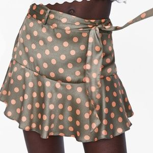 ZARA SKORT POLKA DOT MEDIUM KHAKI NWT
